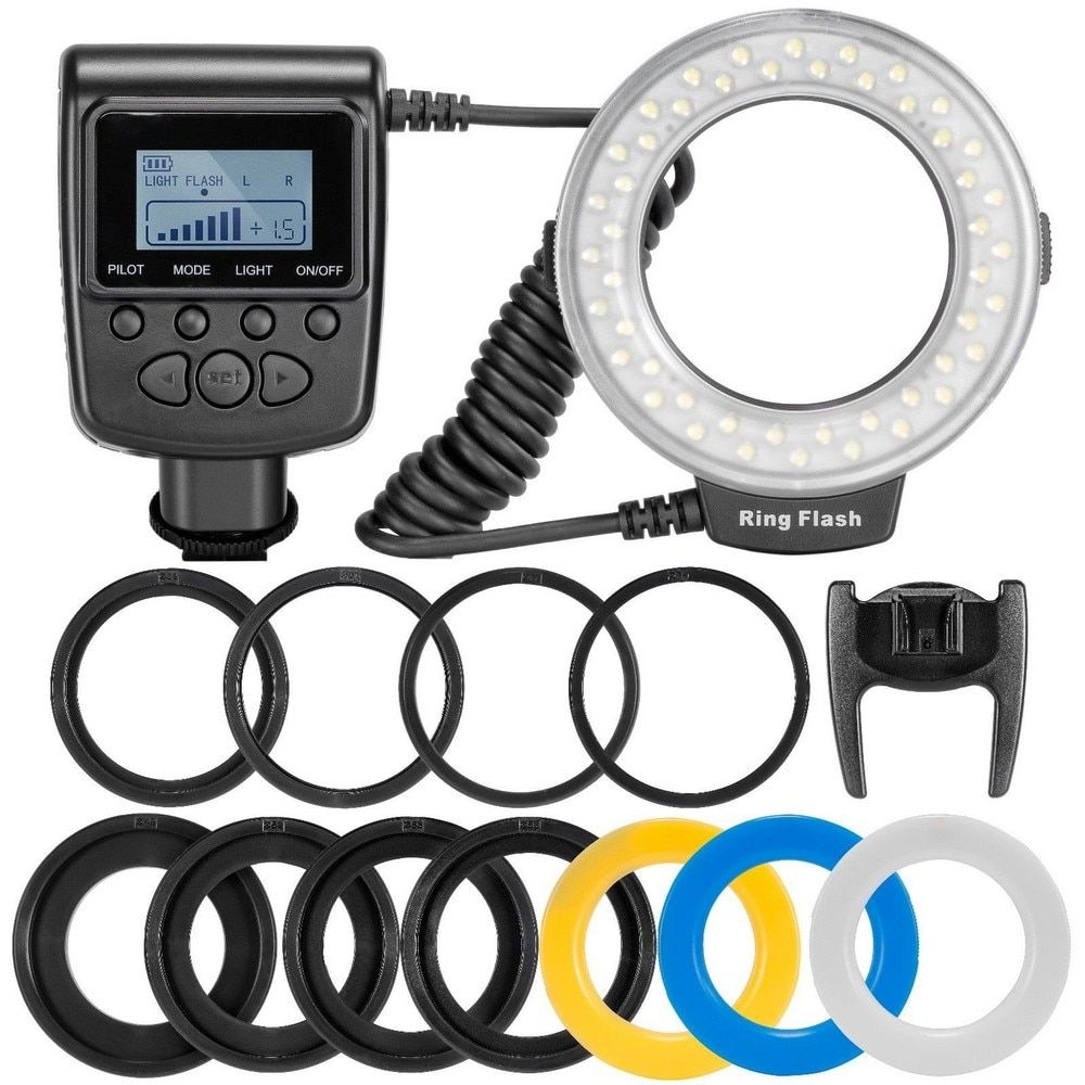 Travor RF-550D LED Macro Ring <font><b>Flash</b></font> light with 8adapter ring For Nikon Canon Pentax Olympus Panasonic Camera as FC100 ring <font><b>flash</b></font>