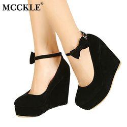 MCCKLE Women High Heels Elegant Wedges Wedding Dress Pumps Female Flock Platform Buckle Ankle Strap Bowtie Shoes Plus Size