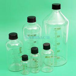 500 ml Lab Kaca Botol Serum Dengan Garis Skala Sekrup Tutup Botol Sampel Reagen