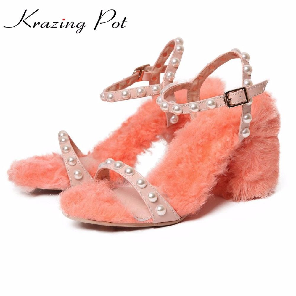 Krazing Pot sheep fur ankle straps fashion big size pearl decoration high heels luxury sandals party wedding spring shoes L51