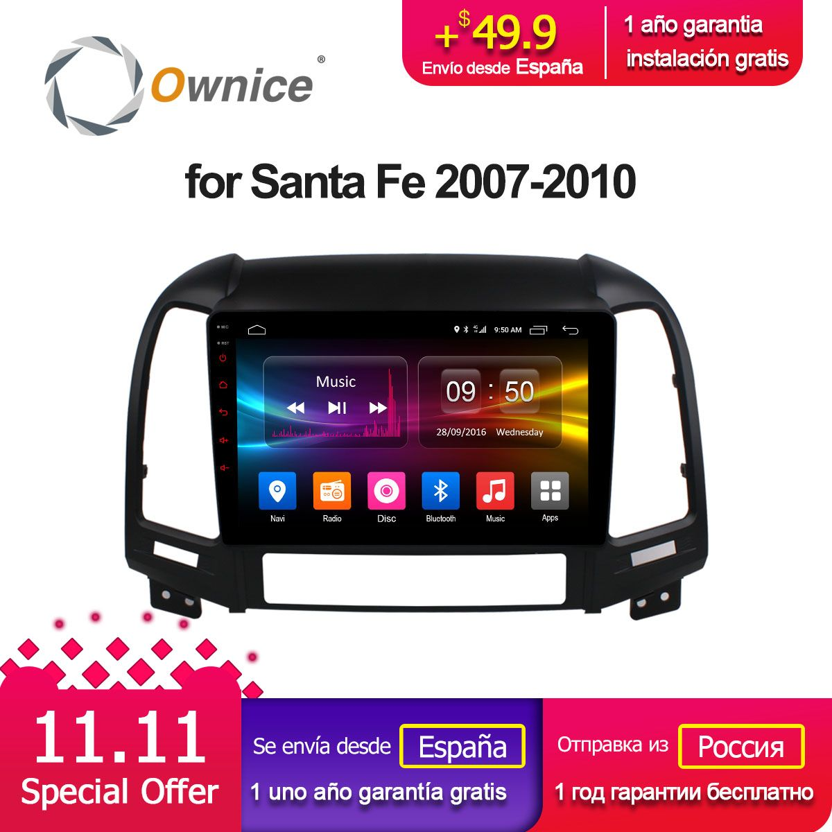 Ownice C500+ G10 Android 8.1 Octa Core for Hyundai Santa Fe 2007-2010 Car DVD gps raido audio navi player 32G ROM 2G RAM 4G SIM