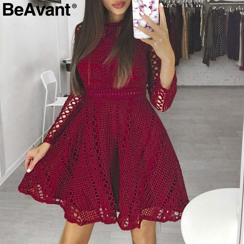 BeAvant Sexy hollow out white lace dress women Elegant long sleeve autumn winter dress Club party wine red skater dress 2018