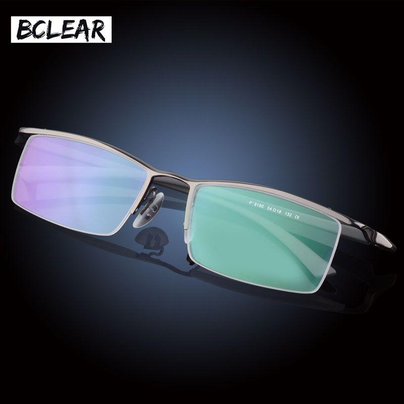 BCLEAR Classic marque haute qualité mode hommes demi-cadre cadre optique en alliage de titane demi-jante lunettes cadres grands petits visages