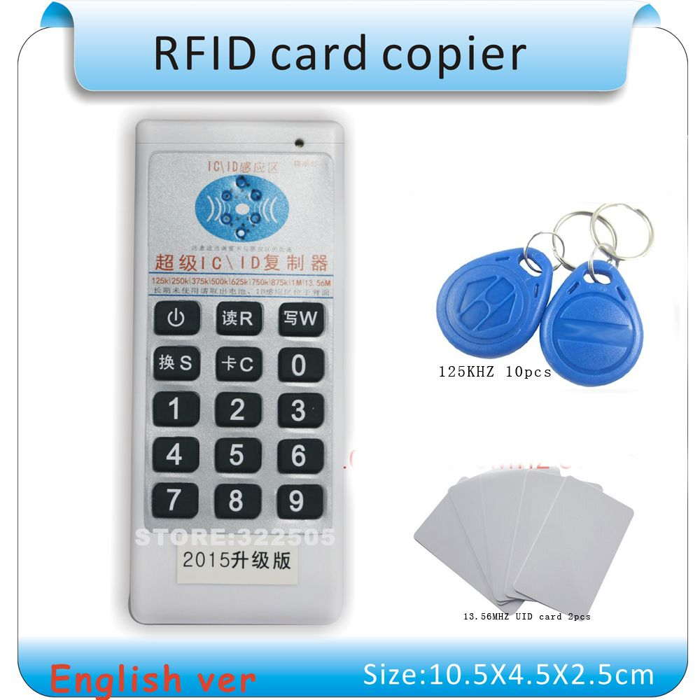 Updated Handheld 125Khz-13.56MHZ  RFID Copier Duplicator Cloner ID/IC card reader & writer + 10pcs 125KHZ +2pcs 13.56MHZ cards