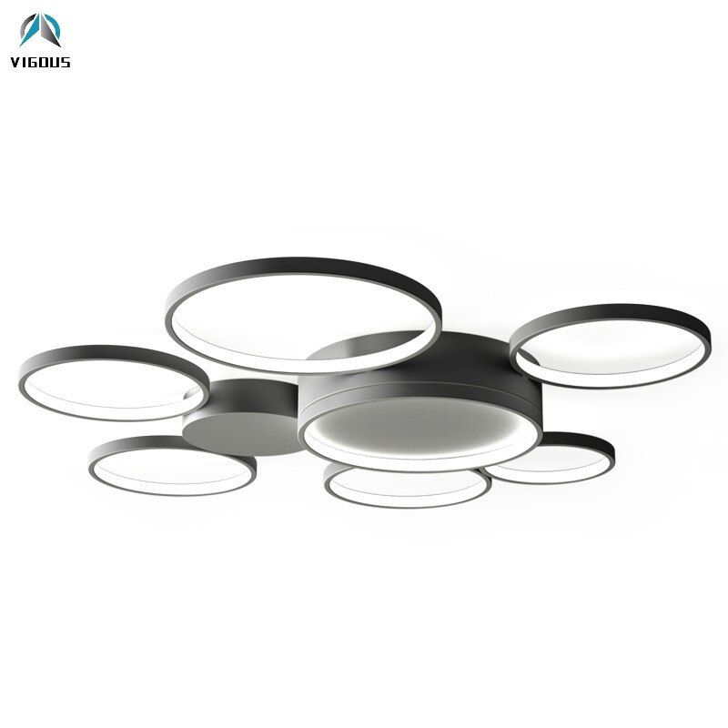 Moderne Decke Aluminium Runde Kreis Dimmbare Led Kronleuchter Fernbedienung Leuchten Led Decke Kronleuchter Lamparas Leuchten
