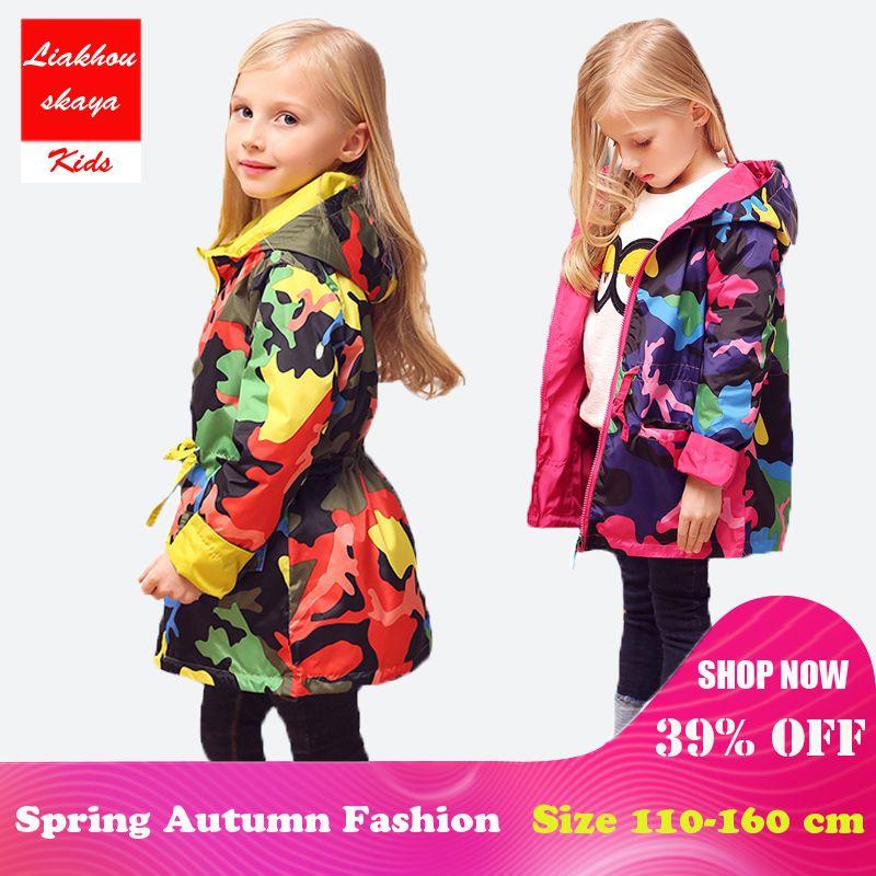 2018 veste pour enfants pour filles printemps Teengers veste enfants hauts Outwear Camo à capuche coupe-vent mince imperméable Trench Coat
