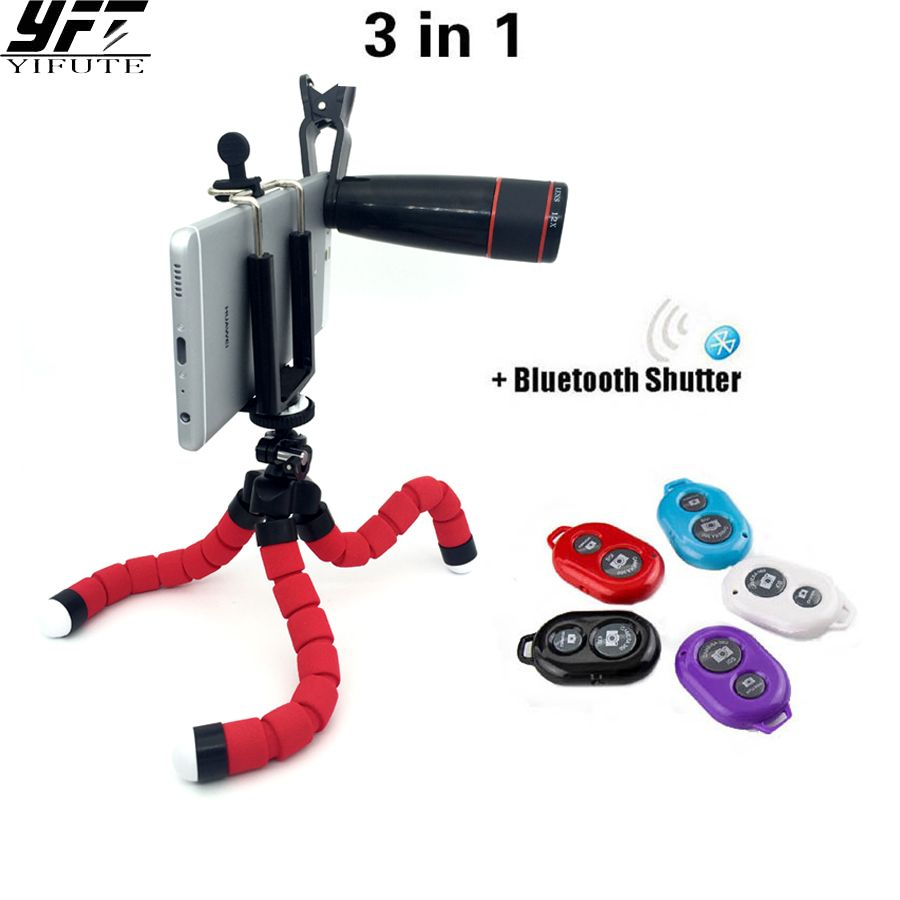 YIFUTE 3in1 Lens Kit 12x Lens+Flexible Tripod+Bluetooth Shutter Remote For Smartphone iPhone Xiaomi Samsung Huawei