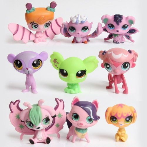 New style 10-20pcs/set LPS littlest pet shop doll ornaments head can move doll plastic ornaments birthday gift