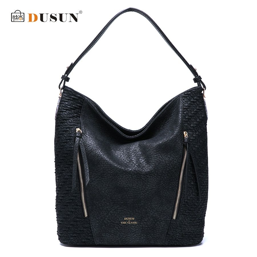 DUSUN New Fashion Women Ruched Snakeskin Texture Handbag Vintage High Capacity Shoulder Bags Women Soft Brand Bag Ladies Totes