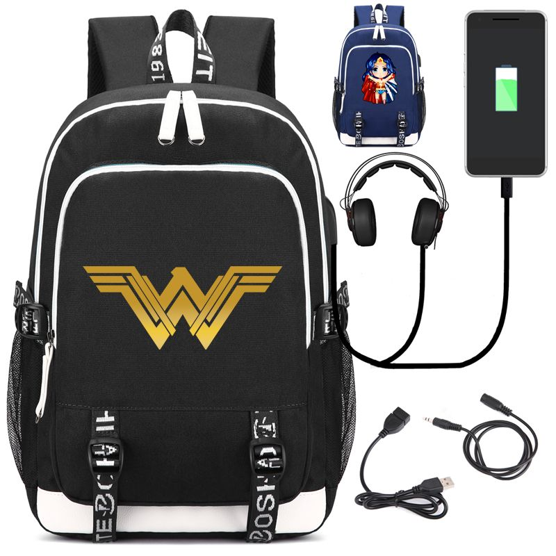 Wonder Woman Backpack with USB Charging Port and Lock &Headphone interface for College Student Work Men & Women