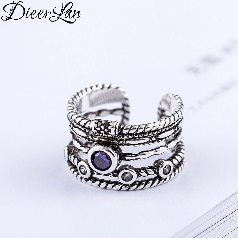 DIEERLAN Bohemian Vintage 925 Sterling Silver Big Purple Crystal Layered Rings for Women Ladies Statement Jewelry Finger Rings