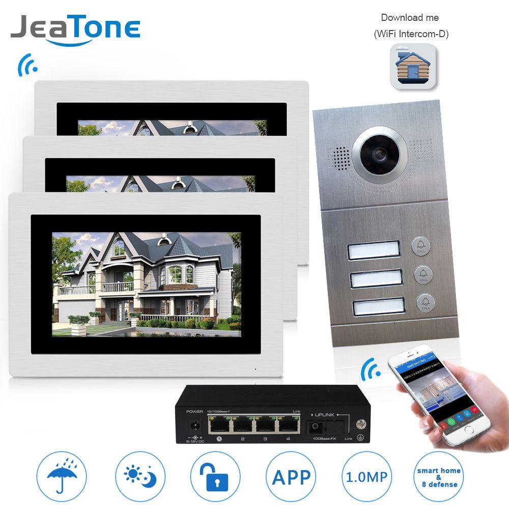 WIFI IP Video Door Phone Intercom System Video Doorbell 7'' Touch Screen for 3 Floors Apartment/8 Zone Alarm Support Smart Phone