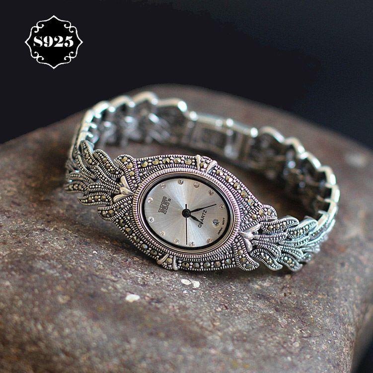 Ограниченная серия классический элегантный s925 чистого серебра тайский серебряный браслет Часы процесс Таиланд горный хрусталь браслет ...