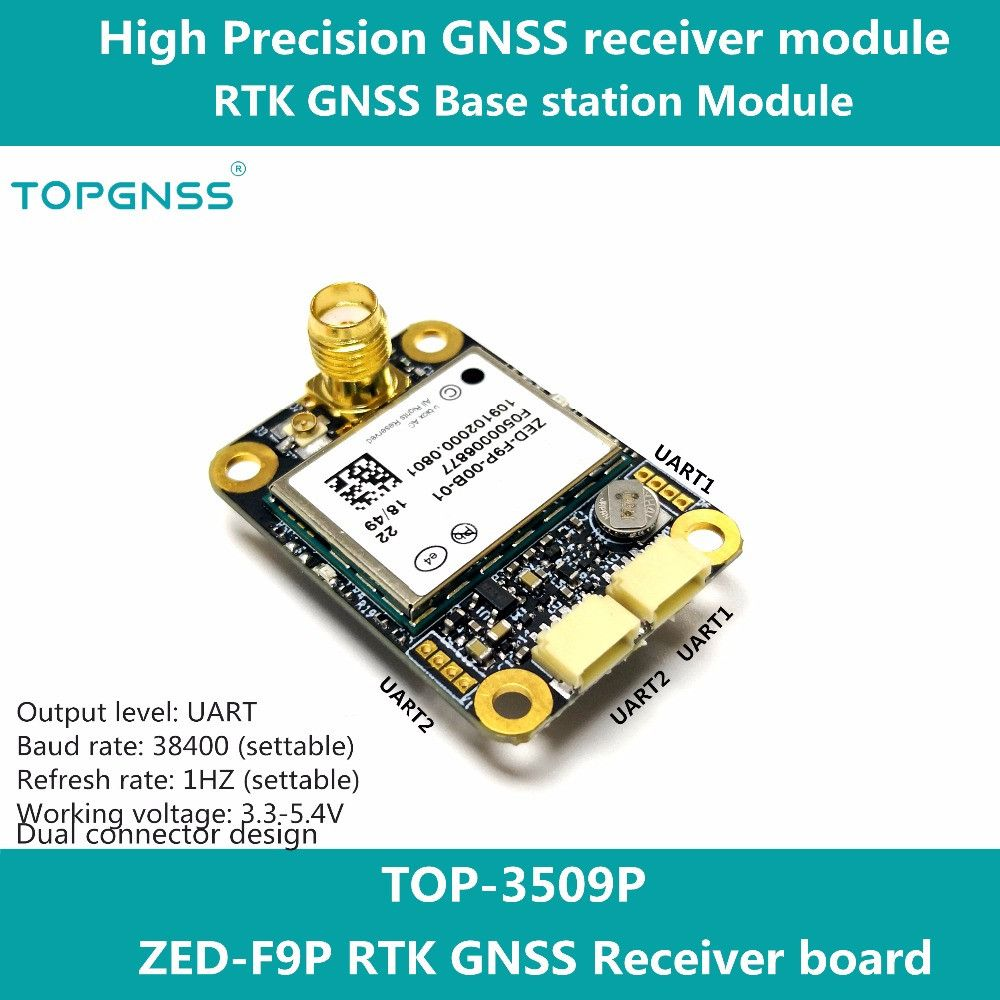 Entworfen mit die ZED-F9P F9 modul, die RTK high-präzision GNSS empfänger kann verwendet werden als basis station und rove TOPGNSS TOP350