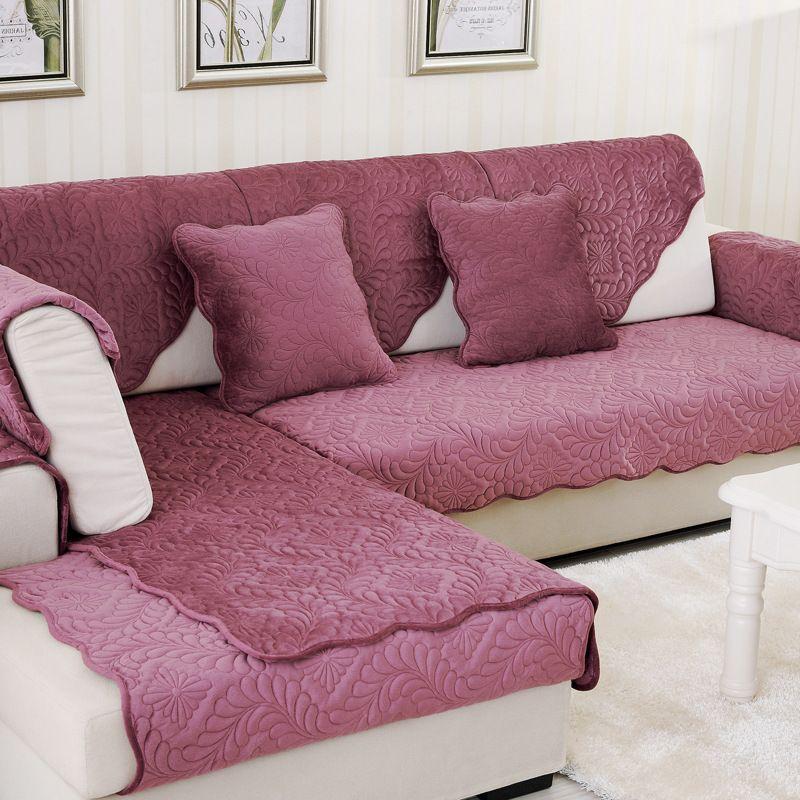 1 pièces housse de canapé couleur unie en peluche housse de canapé coussin de siège Style européen en cuir canapé L coin antidérapant canapé serviette