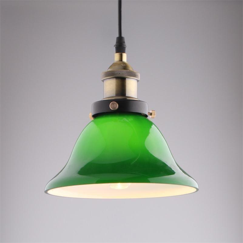Nordic Vintage Pendant Lights USA Bar Cafe Retro Emerald Glass Hanging Lamps Minimalist Restaurant Droplight Fixture E27 Edison