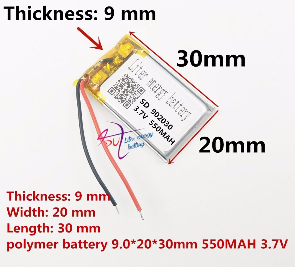 best battery brand Size 902030 3.7V 550mah Lithium polymer Battery with Protection Board For MP3 MP4 PDA Digital Product Free Sh