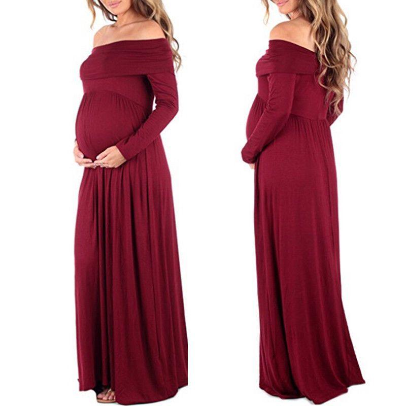 De maternité Maxi Robes 2017 De Maternité Photographie Accessoires En Mousseline de Soie Robes Off Épaules Maxi Robe Enceinte Grossesse Séance Photo