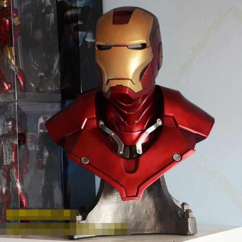 Eisen Mann MK3 Tony Strak (LEBEN GRÖßE) 1:1 GROßE Statue Resin BÜSTE Mit Led Auge 61 cm H
