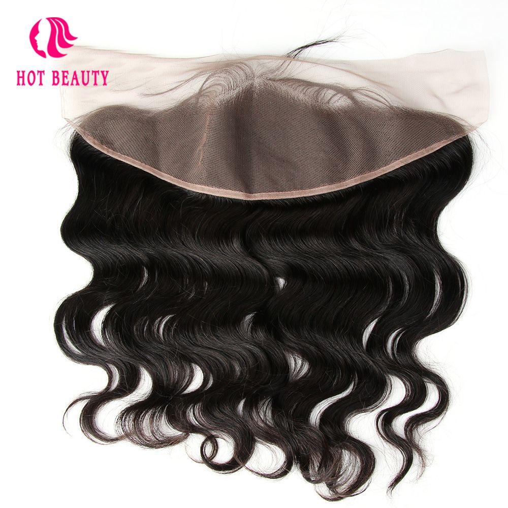 Chaude Beauté Cheveux Péruvienne Vague de Corps Partie Libre Remy Cheveux Oreille à Oreille 13*4 Dentelle Frontale Pré Pincées couleur naturelle 100% de Cheveux Humains