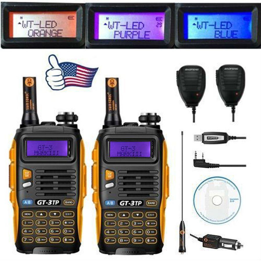 2pcs Baofeng GT-3TP MarkIII VHF/UHF Tri Power Dual Band Ham Long Range Walkie Talkie Two way Radio with 2x Speaker 1x Cable FM
