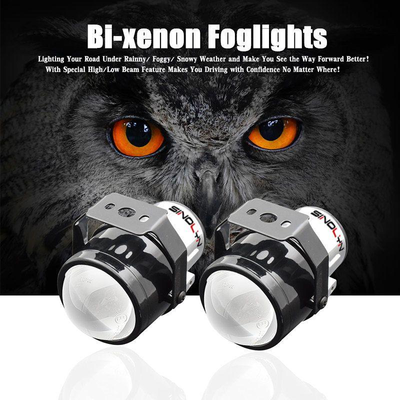 SINOLYN H11 HID Bi-xenon Fog Lights Driving Lamp Projector Lens For Car Motorcycle Low Bumper Retrofit DIY Universal Waterproof