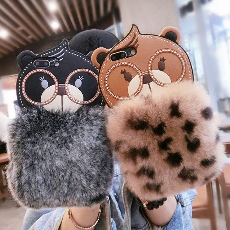 Luxus Winter Furry Fluffy Warm Phone Cases Für iPhone 6 6 S 7 8 Plus Netter Karikatur-kaninchen-häschen-kasten EULE Abdeckung Für iPhone X 6 7 8 fall