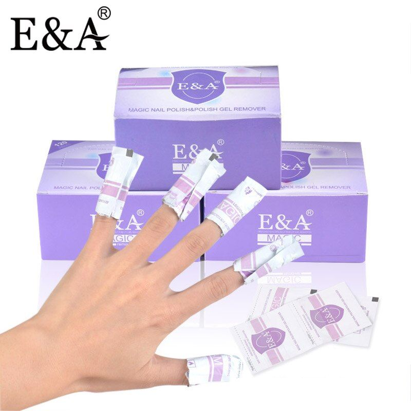 E&A Acetone Nail Polish Remover Disposable Nail Gel Polish Remover Wraps Easy Wipe Pad Packing of 120pcs