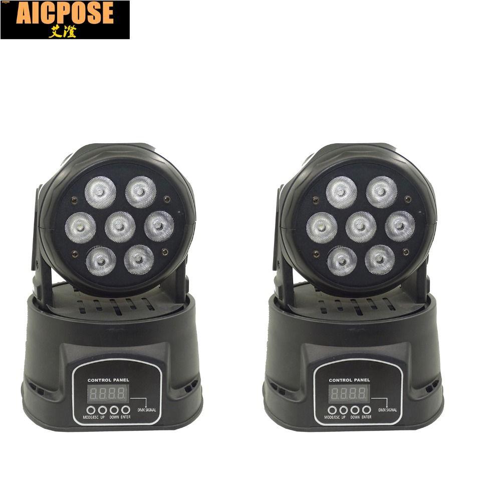 2pcs/lots 7x12W RGBW quad mini led wash moving head light LED stage lights Mini LED Moving Head 14 channels