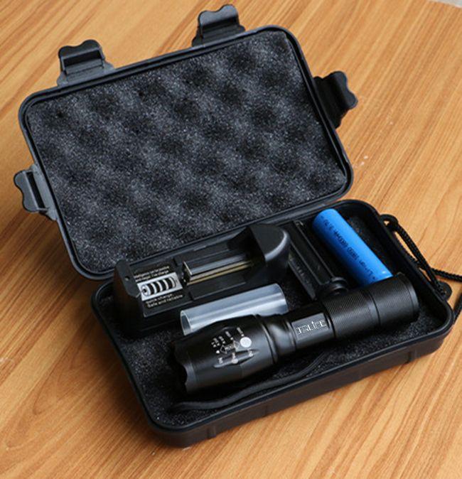 10000LM LED lampe de Poche T6/L2/V6 5 Modes LED Torche Zoom Extérieure Tactique lampes de Poche + 18650 batterie + chargeur + Cadeau Boîte pour Camping