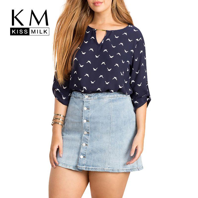 Kissmilk 2018 grande taille femmes été mode oiseau imprimer découpé chemises décontractées amples demi manches en mousseline de soie Blouse