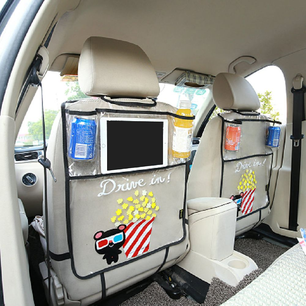 Storage Bag Car Back Seat Organizer Ipad and Drink Holder Auto Back Seat Protector for Children Kick Mud Mats Multi-use