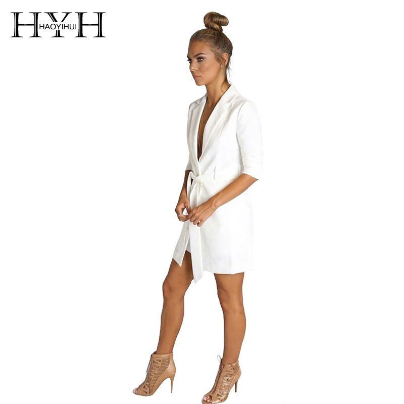 HYH HAOYIHUI Brand Solid White Color Belt Notched Ladies Long Sleeve Suit Elegant Coat <font><b>Office</b></font> Women Autumn Slim Blazer