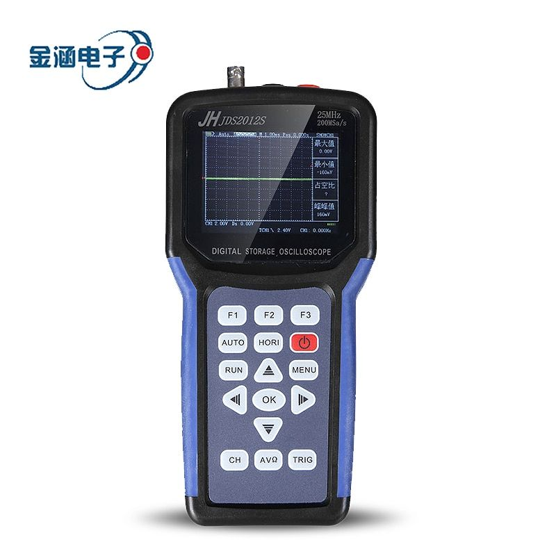 Jinhan Jds2012s Handheld Digital Storage Oscilloscope 1CH 25mhz 200msa/s Scopemeter 4000 Count Digital multimeter 3.2inch TFTLCD