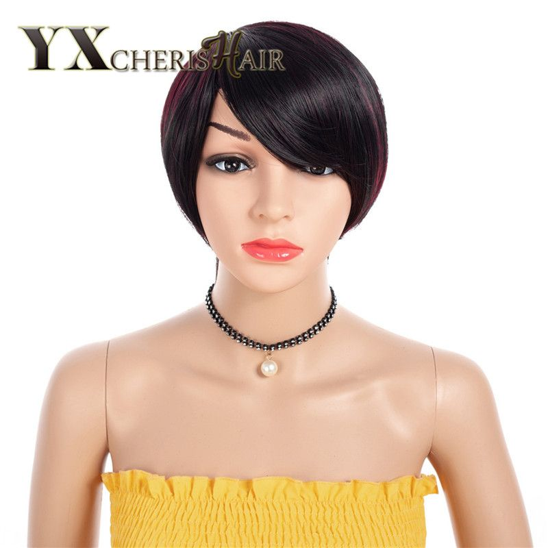YXCHERISHAIR Mixed Black Burgundy African American Wigs Cosplay Short Straight Hair Pixie Cut Synthetic Short Wigs for Women