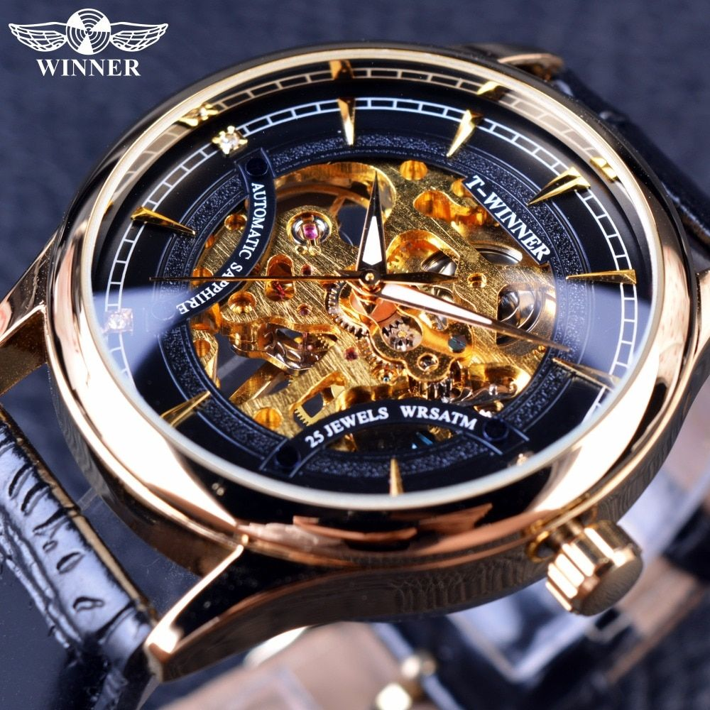 Winner 2016 Fashion Black <font><b>Golden</b></font> Star Luxury Design Clock Mens Watch Top Brand Luxury Mechanical Skeleton Watch Male Wrist Watch