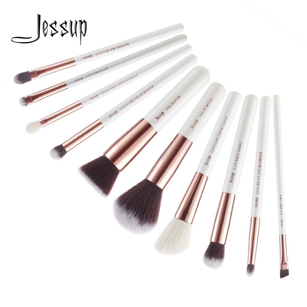 Jessup 10 pcs Pinceaux de Maquillage Professionnel Set Maquillage Brosse Outils kit Fondation Poudre Tampon Joue Shader T216
