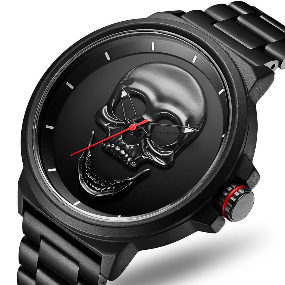 3D Black Watch 2018 Pirate Skull Style Quartz Men Watches Brand Men Military steel Men Sports Watch Waterproof Relogio Masculino