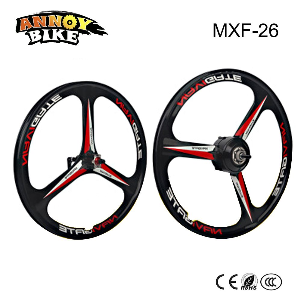 26 inch BLDC Hub Motor Wheel with Front Wheel 250W 36V Magnesium Alloy Wheel Black and White Suitable for Electric Bike