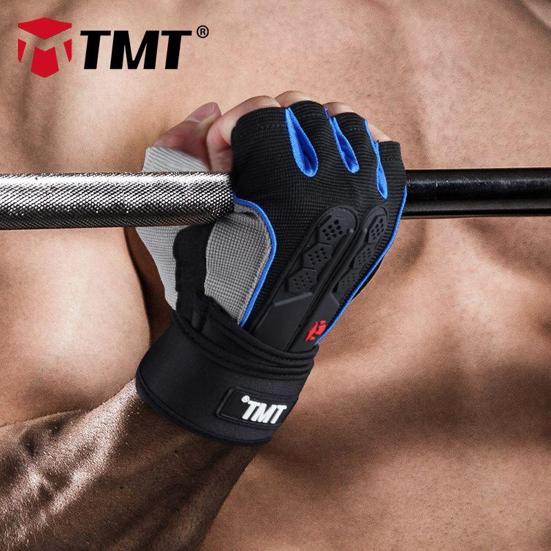 TMT Gym gloves fitness gloves Silicone Antislip Breathable weight lifting sports <font><b>training</b></font> gloves Lengthened bandage Dumbbell