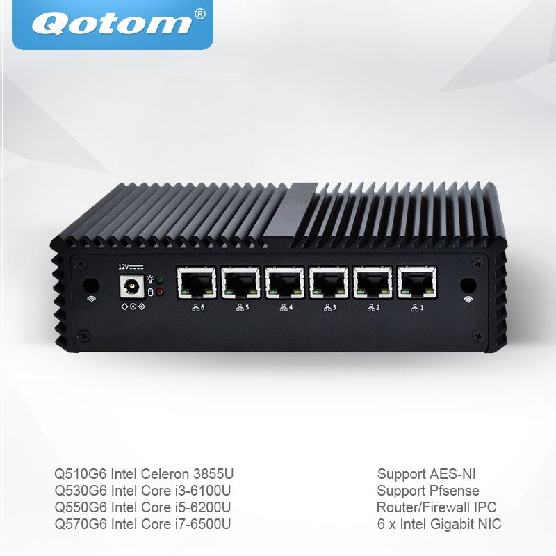 Qotom Mini PC with Celeron Core i3 i5 i7 Pfsense AES-NI 6 Gigabit NIC Router Firewall Support Linux Ubuntu Fanless PC Q500G6