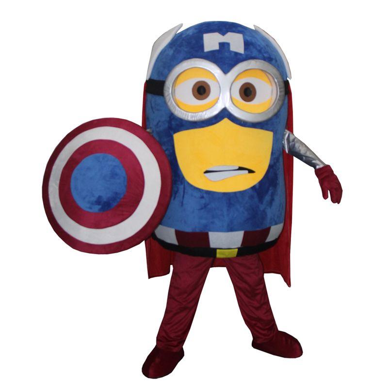 Costume de cosplay costume de mascotte de Minion adulte sur mesure captain America