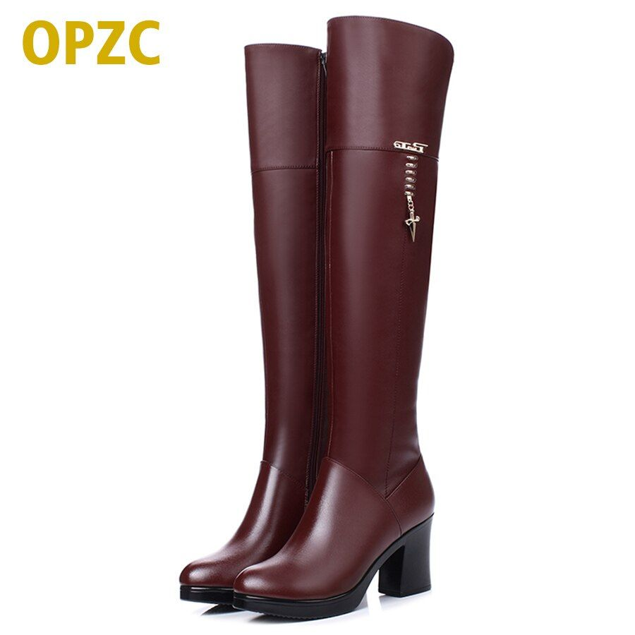 2018 new Women's genuine leather long barrel boots, winter plus velvet knee boots, high-heeled motorcycle boots, free shipping