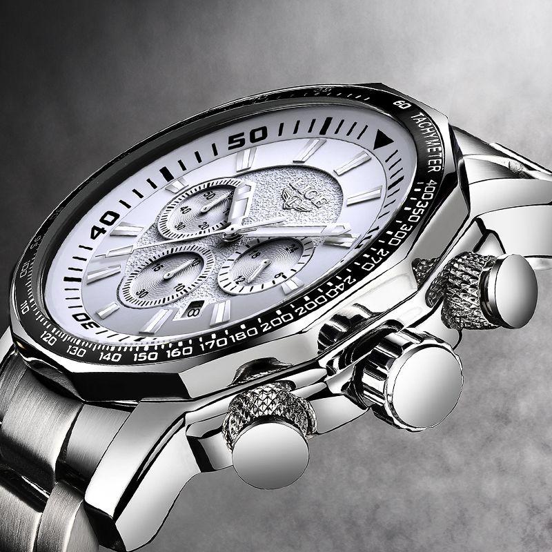 Stylish Men Watch Luxury Brand LIGE Fashion Prince Charming Stainless Steel Casual Cool Male's Wristwatch 30 Meter Waterproof
