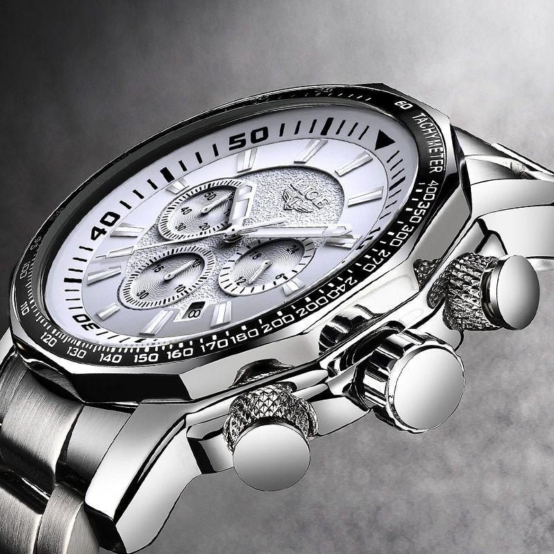 Stylish Men Watch Luxury Brand LIGE Fashion Prince Charming Stainless Steel Casual Cool Male's Wristwatch 30 Meter Waterproof