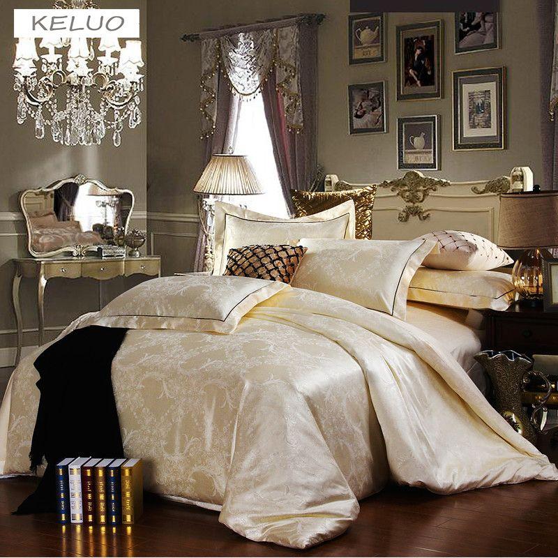 Remise De Luxe Hommage satin de Soie Jacquard Literie ensemble de Literie De Mariage Noble Palais Lit ensemble Coton linge de lit QUEEN SIZE