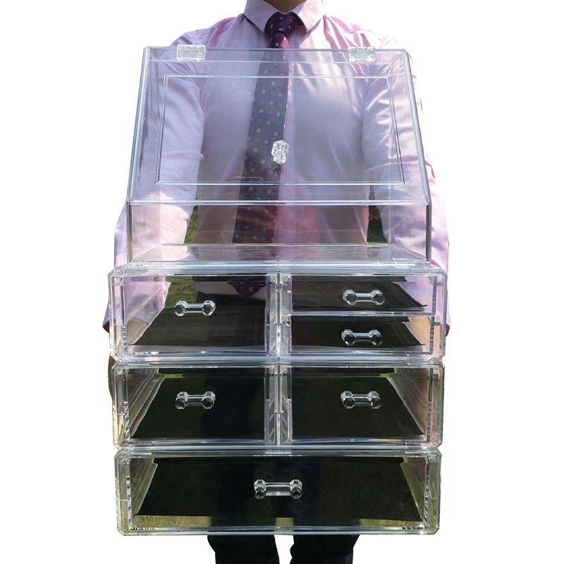 2018 NEW Cosmetic Organizer Oversized Drawers Plastic Desk Jewelry Organizer Acrylic Makeup Organizer Arrangement Storage Box