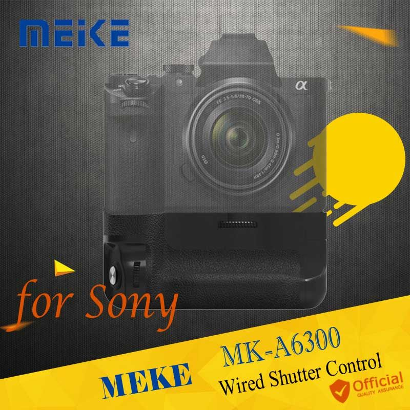 Meike MK-A6300 Vertical Battery Grip hand pack holder Wired Shutter For Sony A6300 A6000 ILCE-6300 ILCE-6000 Camera Accessories