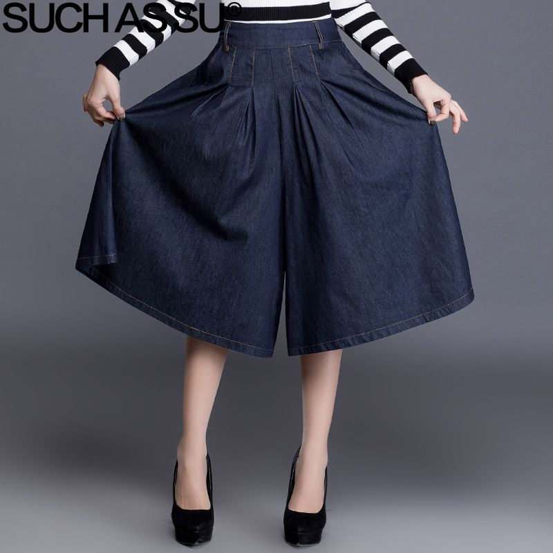 Denim Blue Women Wide Leg Pants 2017 Spring Summer Sexy Mid Long Culottes Pants Elastic Waist Large Size Female Loose Pants