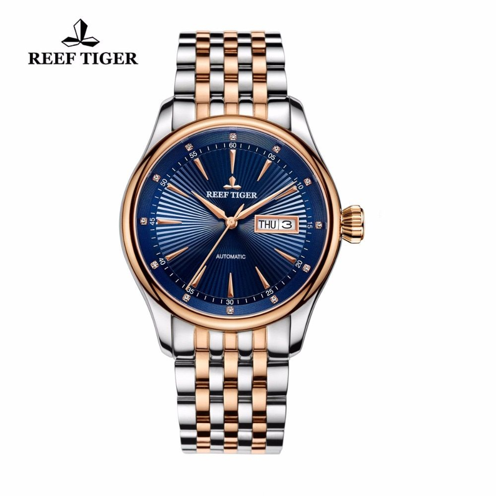 New Reef Tiger/RT Top Brand Men's Dress Watches Waterproof Two Tone Case Blue Dial Wristwatches RGA8232